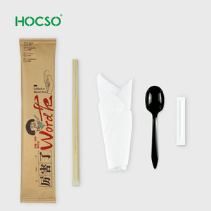 Disposable Plastic Cutlery Kit Spoon Promotion Chopstick, bag of 100sets