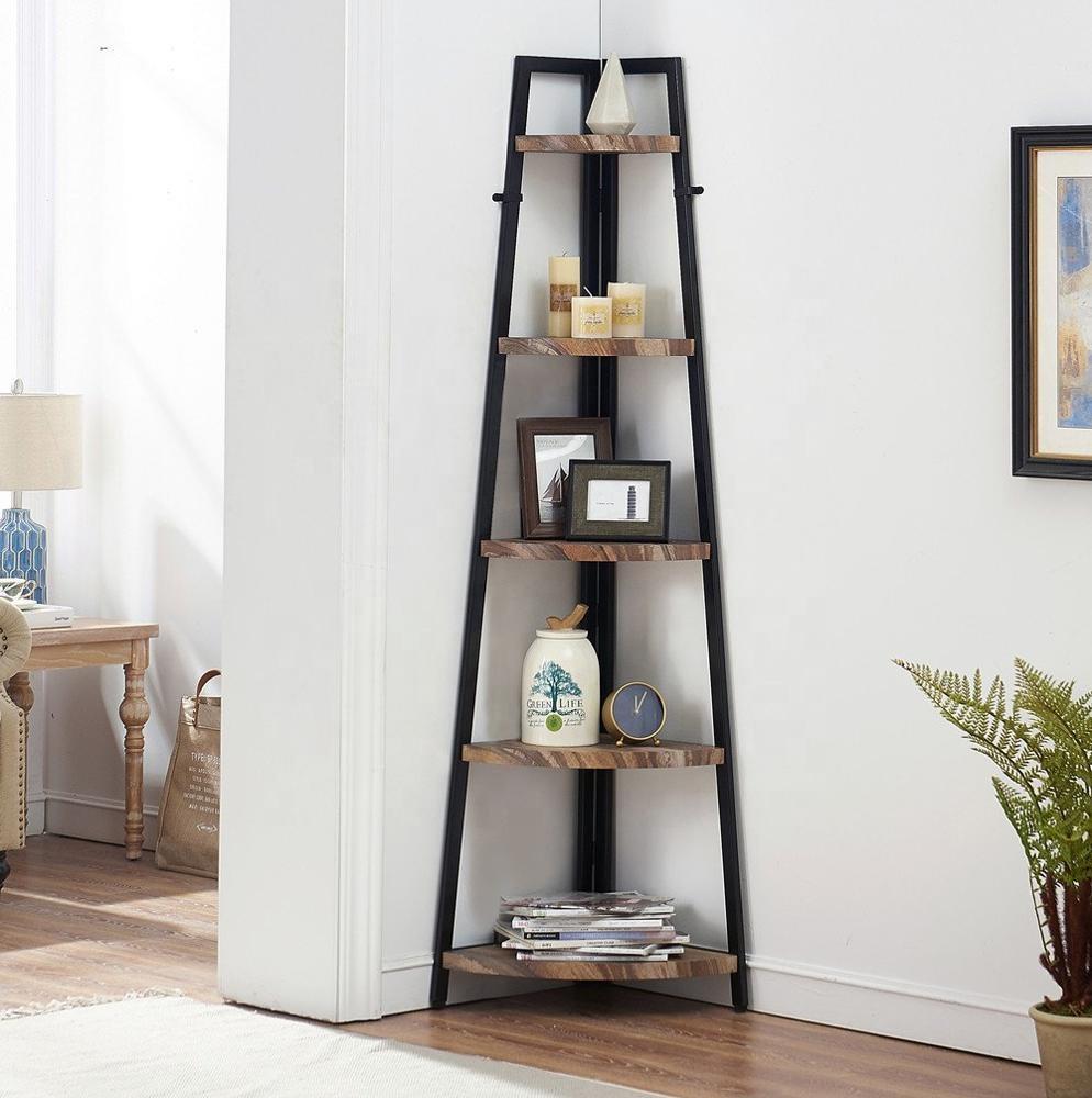 Furniture 5 Shelf Industrial Corner Bookcase and Shelf A-Shaped Display Corner Storage Rack Bookshelf-70-Inch