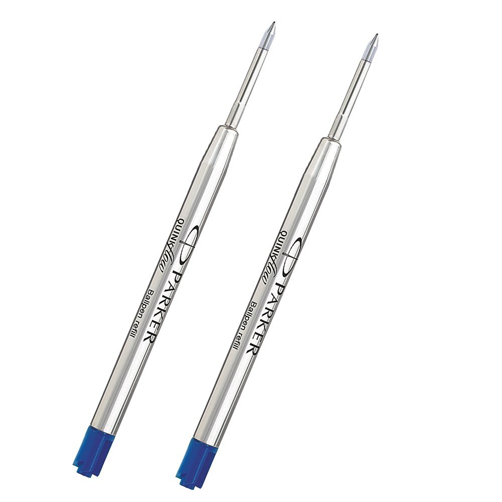 2 X Parker QuinkFlow Ink Refill for Ballpoint Pens, Fine Point, Blue (1782468)