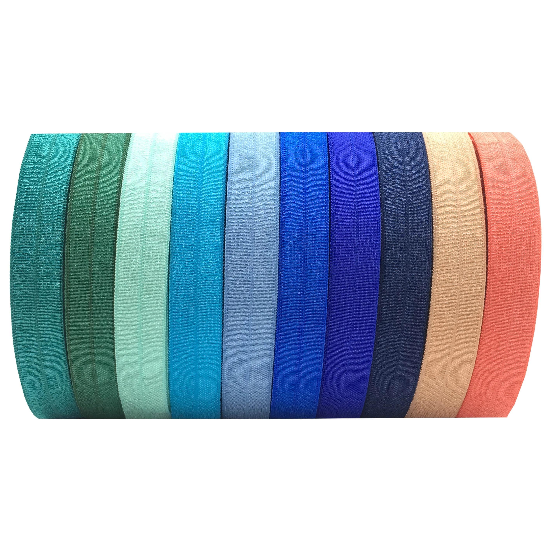High quality Custom Jacquard Ribbon wrist band colorful satin ribbon hair elastic band fold elastic band for clothing