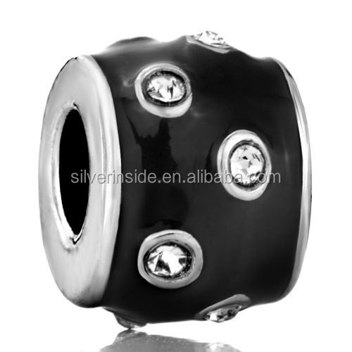 New Silver bracelet charms Black With White Element Crystal Fit All Brands Silver Charms Bracelets