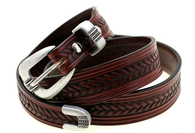 Bridle Leather Belt Tapered Embossed With 3pc Western Belt Buckles ...