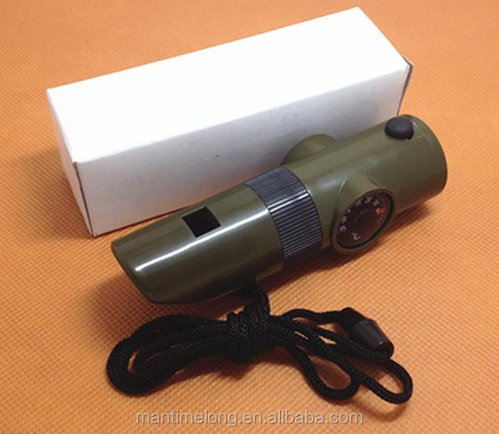 7 in1 Multi-function Survival Tool Emergency LED Light Kit Outdoor Whistle W8E6