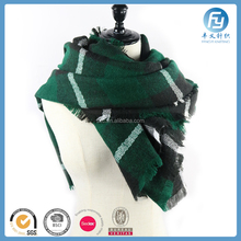Oversized Square Check Green Tartan Blanket Scarf