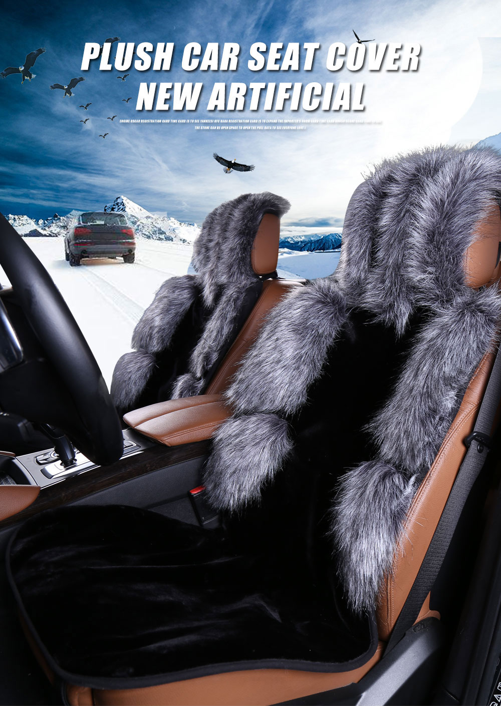 Hot Sale Top Quality Australian Fur Sheepskin Designer Car Seat Cover , Warm long wool car seat cover