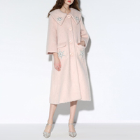 winter long wool coat Long Sleeved Beaded single breasted coat female