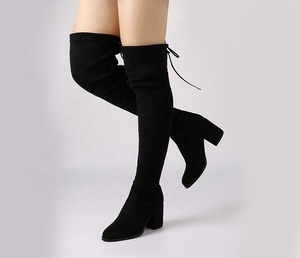 a6f6d330cc5 Black Chunky Low Heel Lace Up Flannelette Long Boots