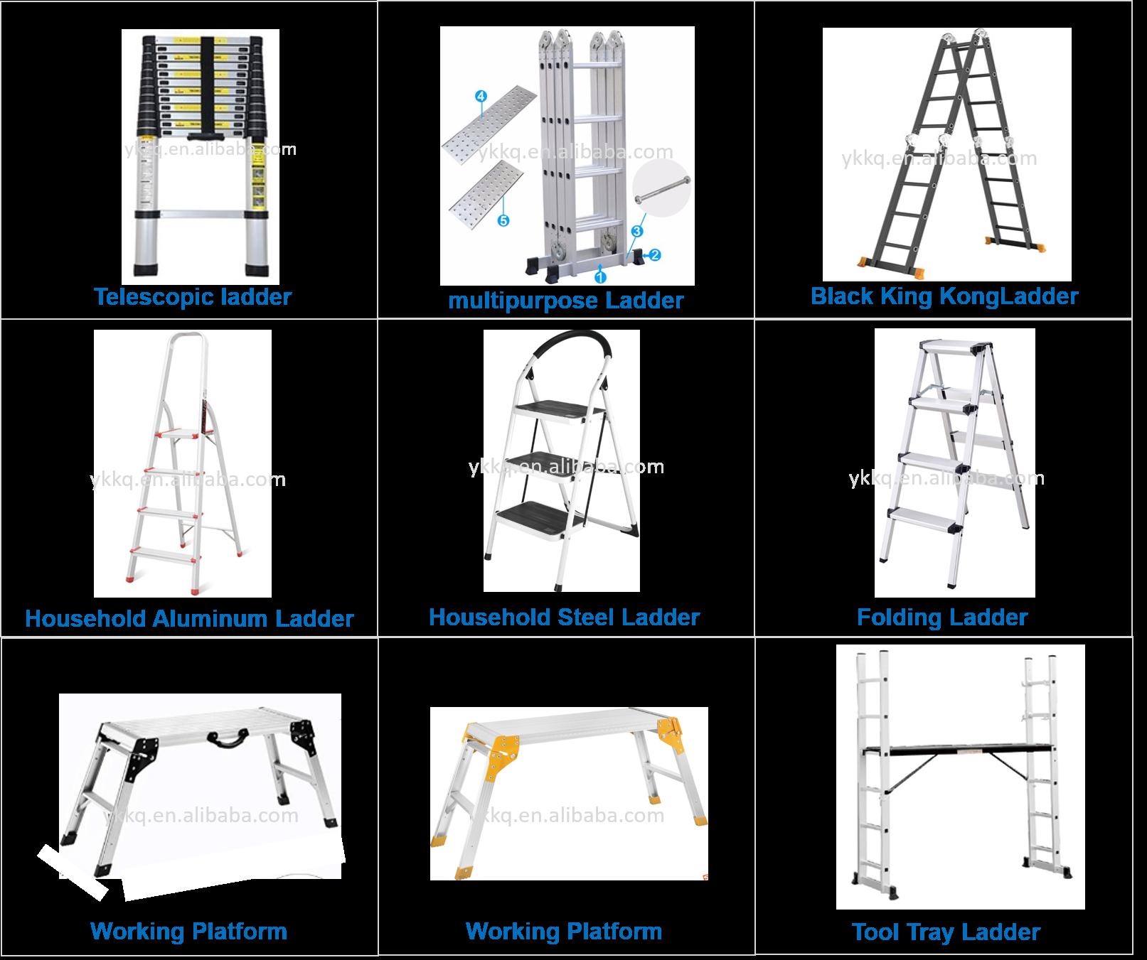 Double side EEN type zolder telescopische ladder scharnieren escaleras de aluminio