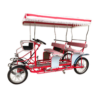 Family 4 People Surrey Bicycle Sightseeing Pedal Quadricycle Surrey bike, Beach Cruiser Tour 4 Person Bike