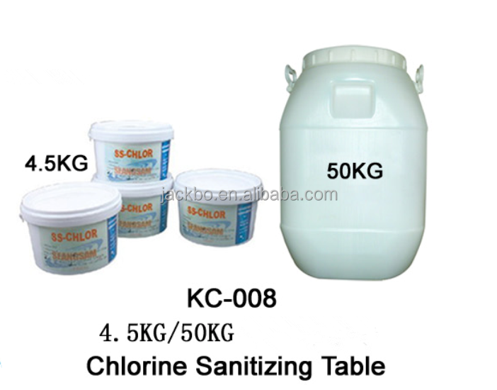 chemicals of chlorine 90% and alga agent used for cleaning swimming pool