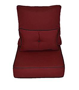 "Sunbrella Burgundy / Maroon / Garnet Cushion w/ Black Piping / Cording for Indoor / Outdoor Deep Seating Furniture Chair + Button Lumbar Pillow - Choose Size (20 1/2""w X 22 1/2""d)"