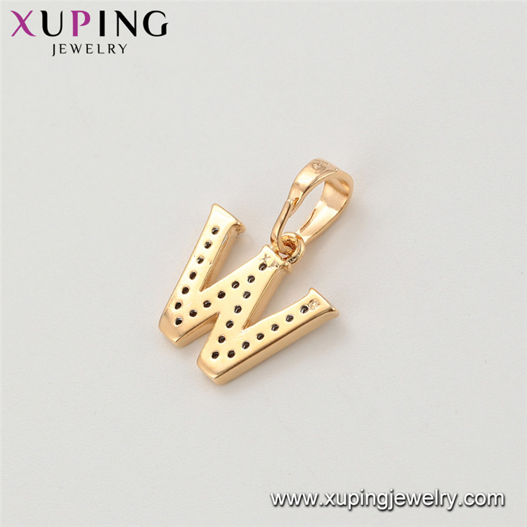 34184 Xuping fashion crystal alphabet letter pendant 8 mm letter w pendant gold plated