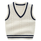 Wholesale primary school uniform designs V neck cotton sweater vest for kids