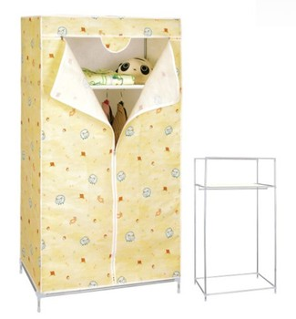 SINGLE CANVAS CUPBOARD CLOTHES HANGING RAIL CHEAP WARDROBE CLOSET