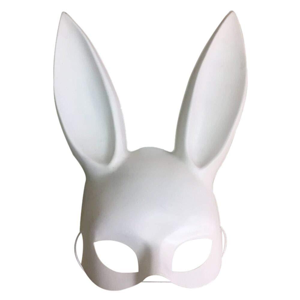 Rumas Lightweight Bunny Masquerade Mask - Happy Halloween Party Face Mask - Bondage Elastic Band Rabbit Mask for Adults - Black White (White)