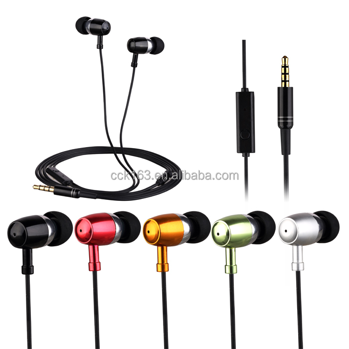 Metal Stereo Earphones 3.5mm In-Ear earphone Fashion Super Bass Headset Music Handsfree With Mic Sound Quality