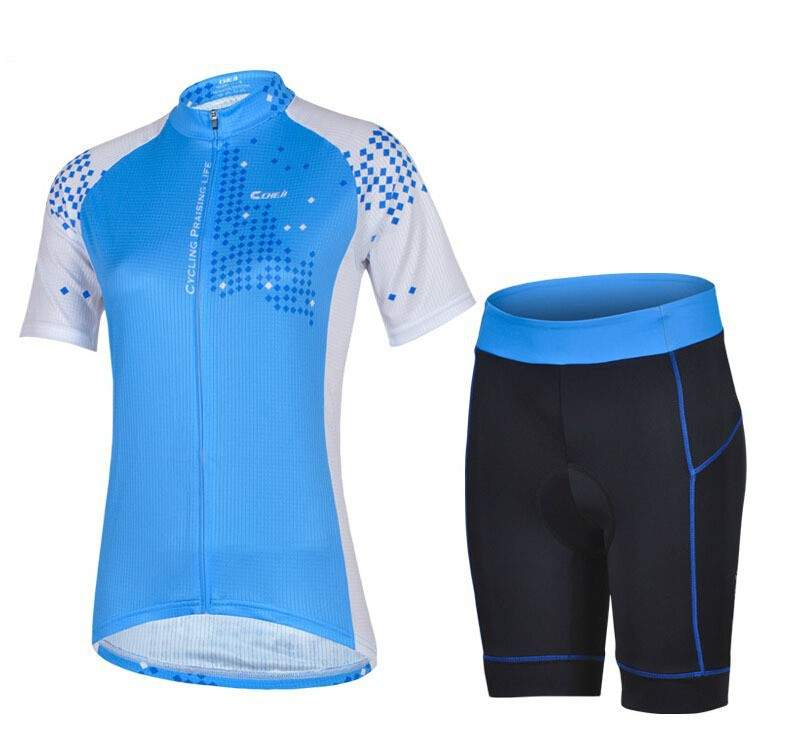 New Cycling Wear Team CHEJI Blue Women Cycling Jersey Short Sleeve Pants Girl's Fashion Set With GEL PAD 0910