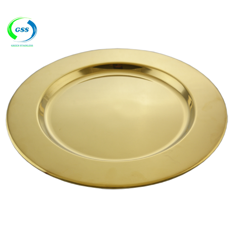 Stainless steel gold plated shiny charger plates for wedding