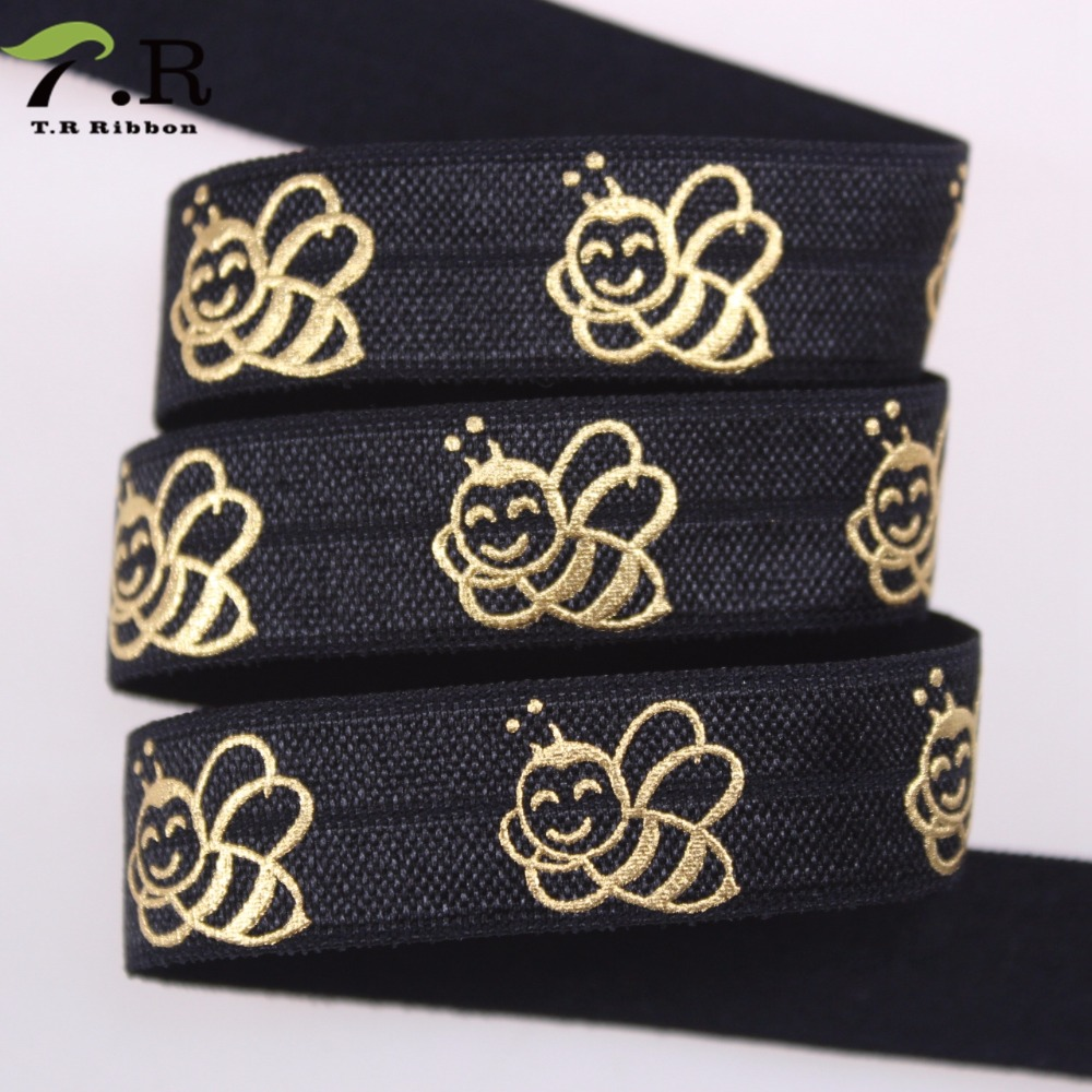 Cheap And Fine Black Color Printed Bee Fold Over Elastic