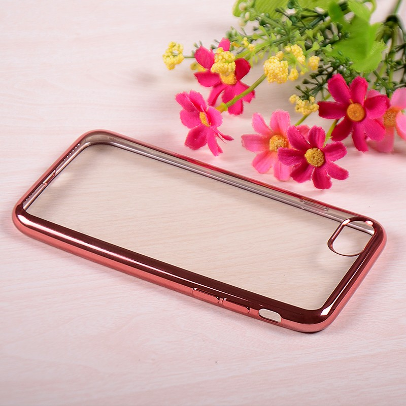 Rose Gold Frame Electroplate Soft Slim Cell Phone Case for Iphone 7