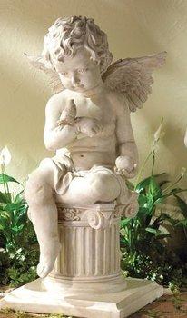 Garden Statues   Cherub Sitting On Stone Column