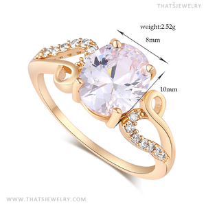 18K Plated Stunning Big AAA CZ Ring, High Quality AAA Cubic Zirconia Ring