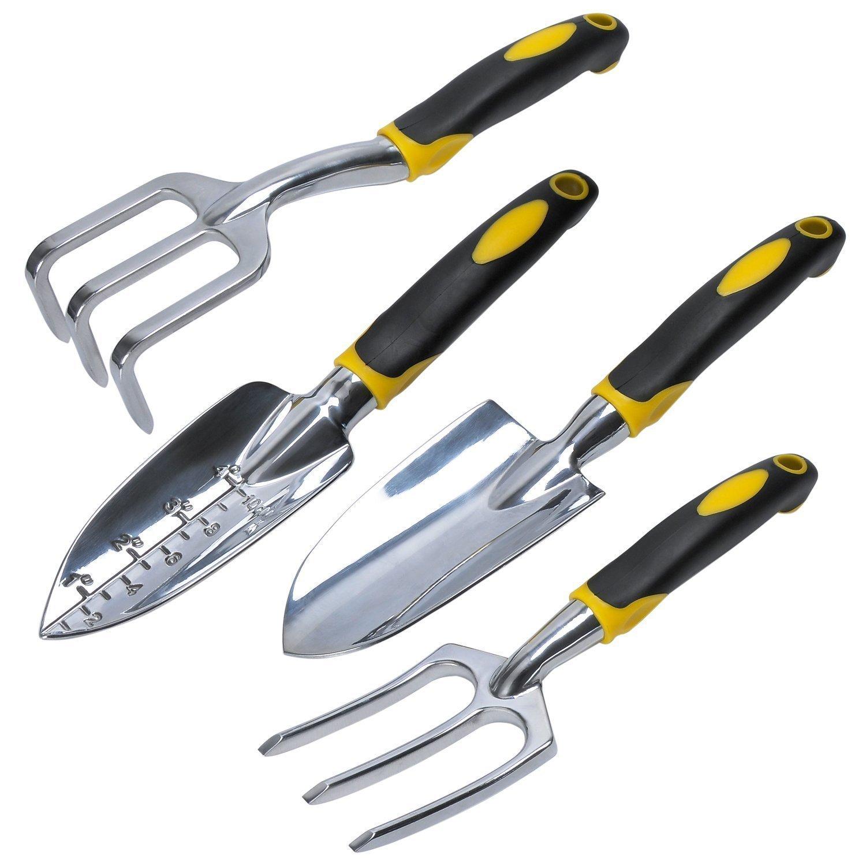 Gardening Premium Ergonomic Hand Tools Set of 4 Pieces Garden shovel, Generic Garden Lawn Kit Includes Trowel, Cultivator, Transplanter and Fork.