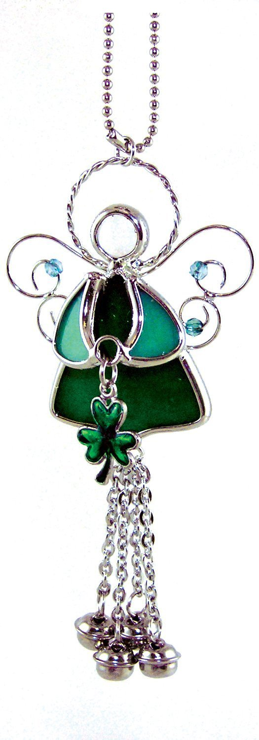 BANBERRY DESIGNS Irish Angel Suncatcher Stained Glass with Shamrock and Bell Chimes