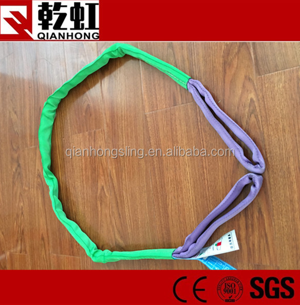 SF5:1 green double eye polyester round lifting sling