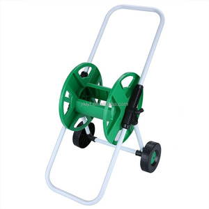 2 Wheels Portable Hose Pipe Holder Trolley Cart Garden Water Free Standing For Garden Yard Lawn