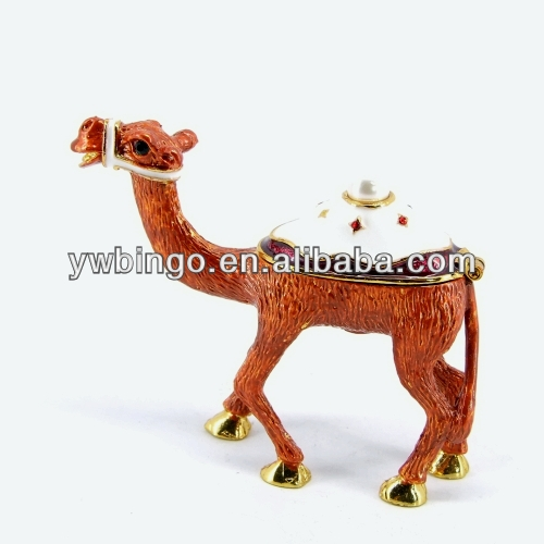 Fashion Metal Alloy Pewter Rhinstone Crystal Enamel Camel wholesale trinket box from india (M4173)