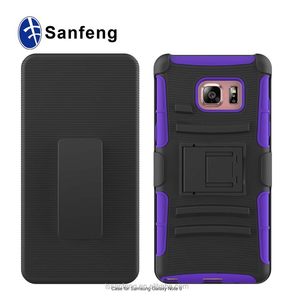 Shockproof PC + Silicone Rugged 2 in 1 Cell Phone Combo Holster Case For Samsung Galaxy Note 6 Cover