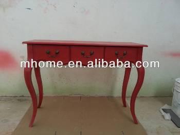Shabby Chic In Legno Rosso Tavolo Della Sala Da Pranzo Con 3 ...