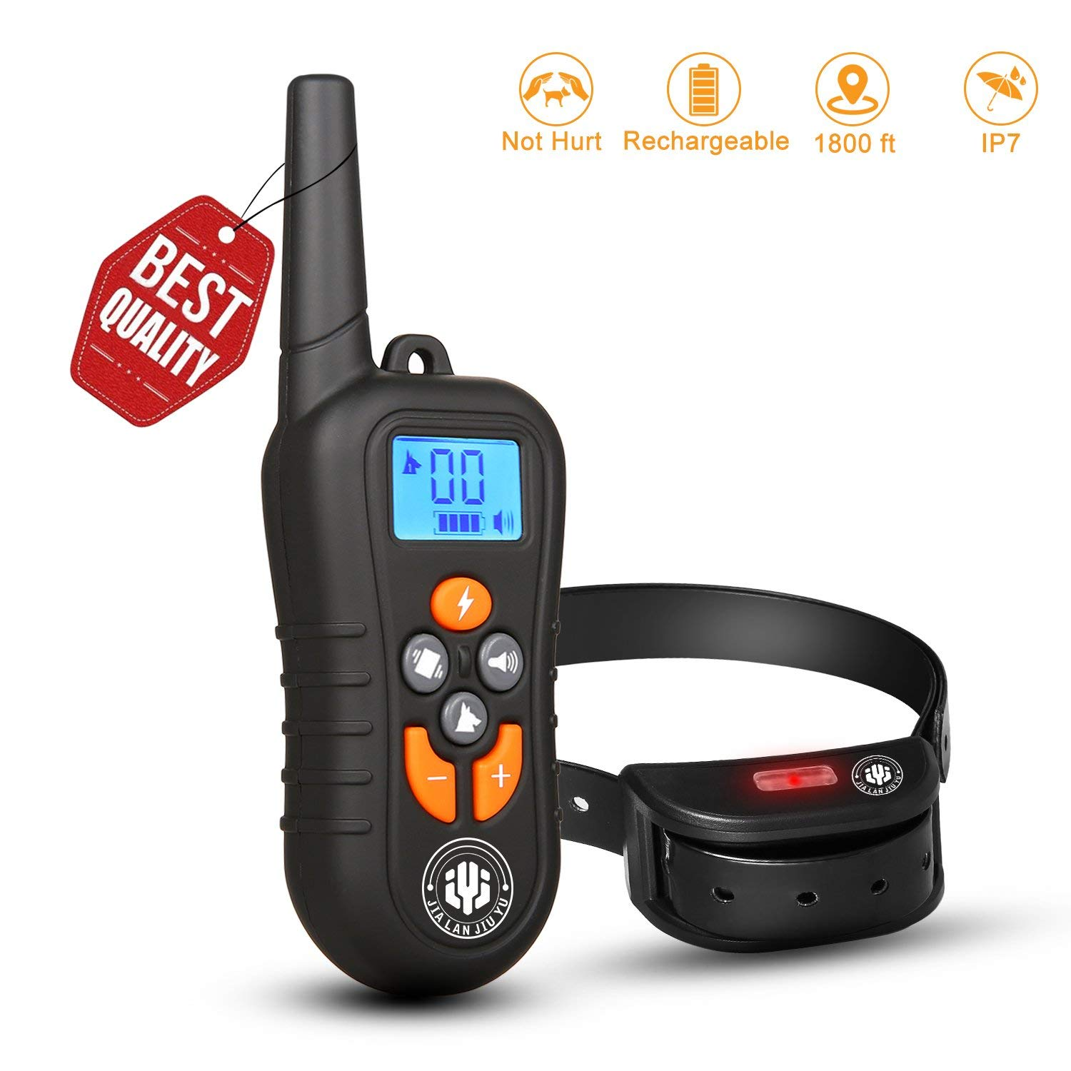 JIAHONG Dog Training Collar,Shock Bark Training Collar for Dogs, NO Hurt and Rechargeable and IP7 Level Waterproof with 1800FT Remote Electronic Collar Modes for Small Medium Large Dogs
