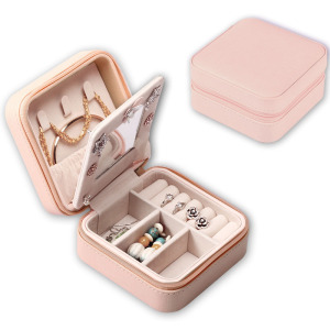 leather Portable Jewelry Box Jewelry Organizer storage box Travel Case with mirror