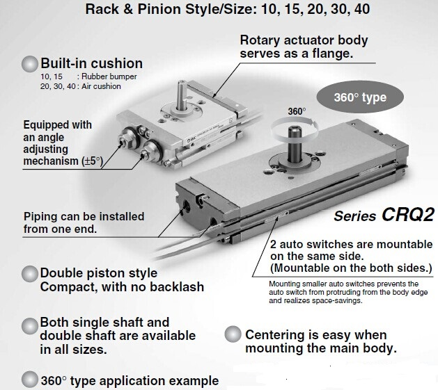Smc type crq series rotating angle rotary actuators