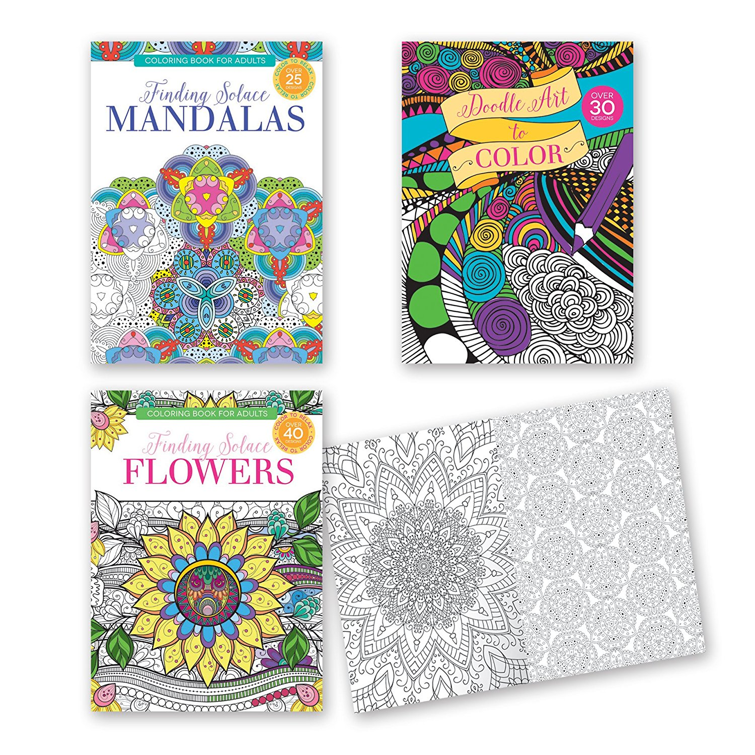 Get quotations · adult coloring books set of 3 coloring books many different designs combined mandala