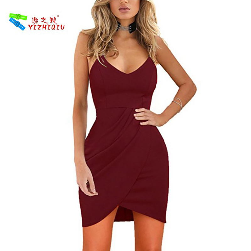 YIZHIQIU Spaghetti Straps Deep V Bodycon Party Dress