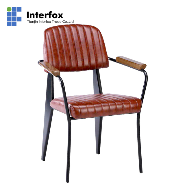 Bold line metal armchairs restaurant chairs hotel chairs dining chairs with wood armrest and PU covered