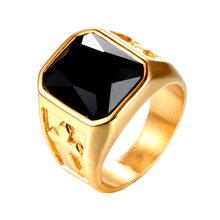 Уличный властный человек кольцо личностные Значки из нержавеющей стали 316 л крест кольцо с камнем первый действия роль ofing(Китай)