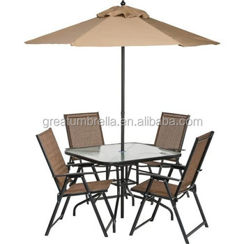 6 Piece Outdoor Folding Patio Table And Chair With Umbrella