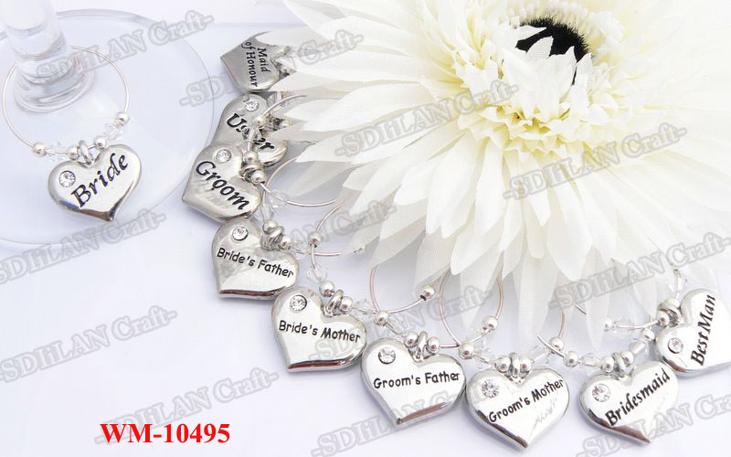 WM-10495Silver Heart Shape With Letters Charm Wedding Themed Markers Wine Charms Wedding Party Wine Glass Gifts For Bridal Party