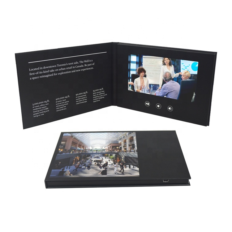 Customized High Resolution 7 Inch Video Book, Video Booklet, Lcd Screen Video Brochure <strong>Card</strong>