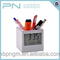 Desk Digital LED Electronic Alarm Pen Holder Clock