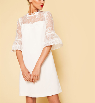 bc643bdd7f Casual Round Neck White Bell Sleeve Summer Lace Dress - Buy ...