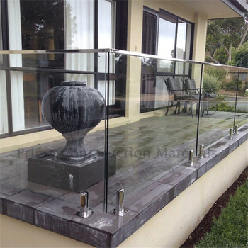 Stainless Steel Staircase Glass Railing With Stainless Steel Standoff
