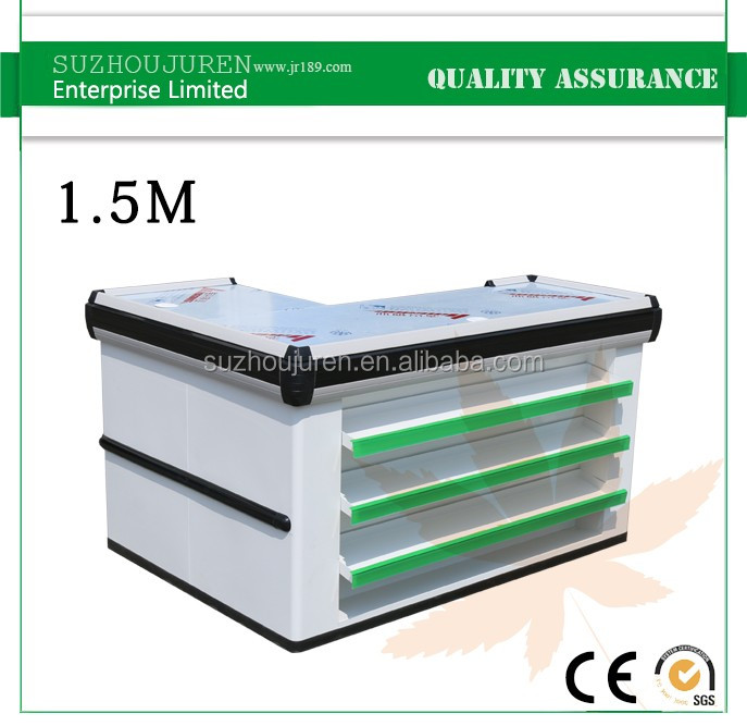 JR-S046 low price supermarket shopping mall checkout counter with stop bar