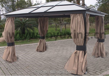 deluxe patio gazebo with polycarbonate roof aluminum polycarbonate hardtop pavillion gazebo for. Black Bedroom Furniture Sets. Home Design Ideas