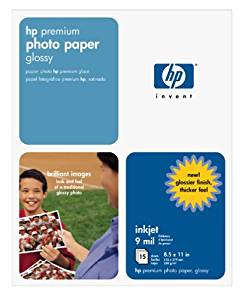 HP Premium Photo Paper, Glossy (15 Sheets, 8.5 x 11 Inches)