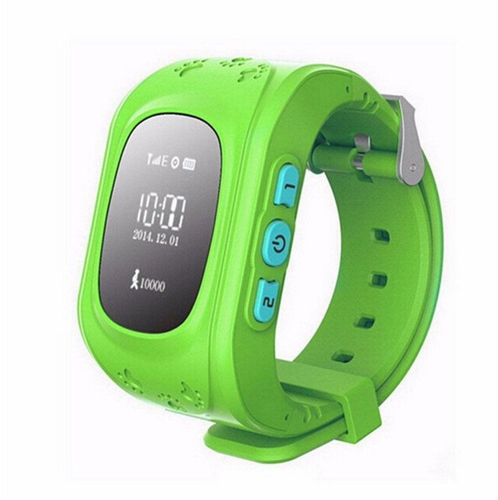 Generic GPS Watch for Kids W5 Personal GPS Tracker Watch Mobile Phone Telephone Alarm Clock Child Anti-lost Locator Dial Call-Green